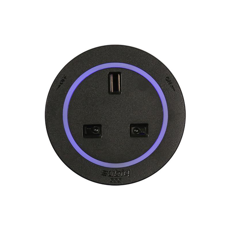 Bristish Standard Socket BS4 Black - black plastic rim - Blue Led