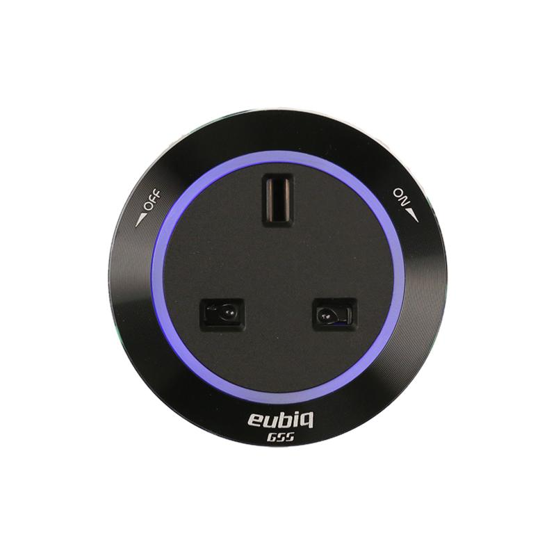 Bristish Premium Socket BS3 Black - Aluminium rim- Blue Led